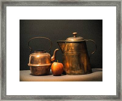 Framed Print featuring the photograph Two Copper Pots And An Apple by Frank Wilson