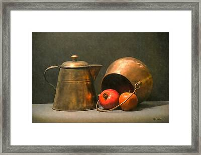 Framed Print featuring the photograph Two Copper Pots Pomegranate And An Apple by Frank Wilson