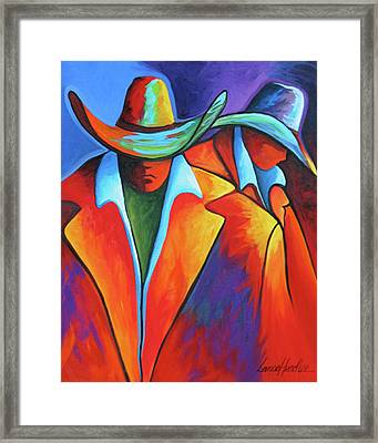 Two Cowboys Framed Print by Lance Headlee