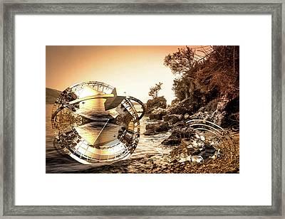 Two Crashed U F Os On Rocks Framed Print