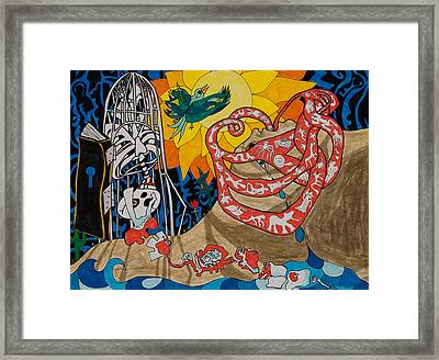 Two Creation Stories Framed Print by Eliza Furmansky