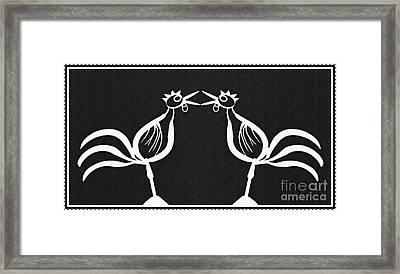 Two Crowing Roosters 2 Framed Print by Sarah Loft