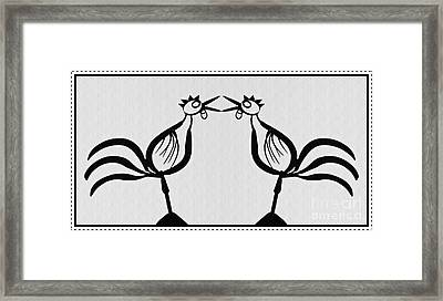 Two Crowing Roosters  Framed Print by Sarah Loft