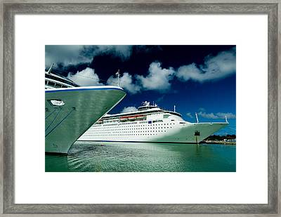 Two Cruise Ships Docked At A Caribbean Framed Print by Todd Gipstein