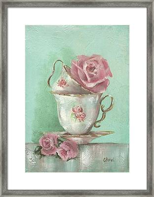 Two Cup Rose Painting Framed Print by Chris Hobel