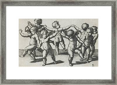 Two Cupids Leading Children In A Dance Framed Print by Marcantonio Raimondi