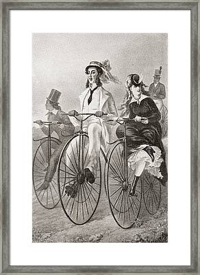 Two Cyclists On Penny Farthing Bicycles Framed Print