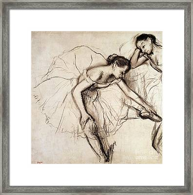 Two Dancers Resting Framed Print by Edgar Degas