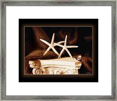 Framed Print featuring the photograph Two Dancing Starfish by Linda Olsen