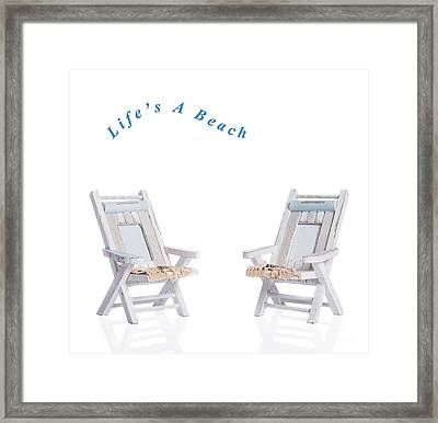 Two Deck Chairs Framed Print