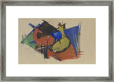 Two Deer Lying Down Framed Print by Franz Marc