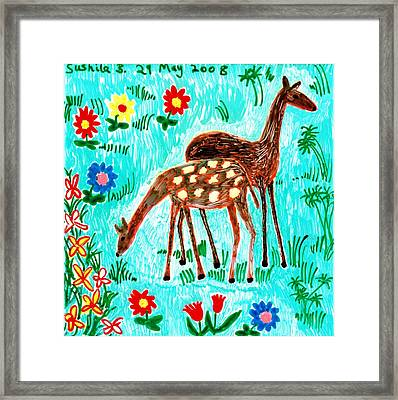 Two Deer Framed Print by Sushila Burgess