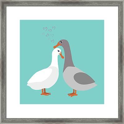 Two Ducks In Love Framed Print