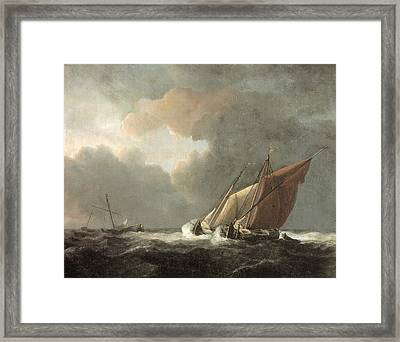 Two Dutch Vessels Close-hauled In A Strong Breeze Framed Print by Willem van de Velde the Younger