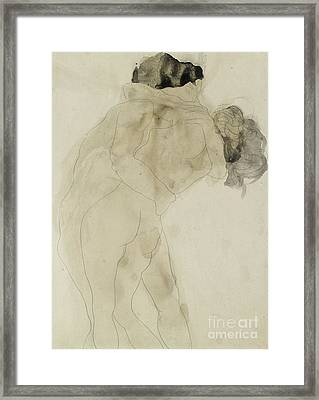 Two Embracing Figures Framed Print by Auguste Rodin
