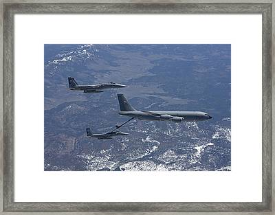 Two F-15 Eagles Conduct Aerial Framed Print