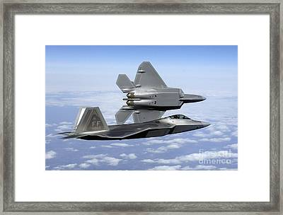 Two F-22a Raptors In Flight Framed Print by Stocktrek Images