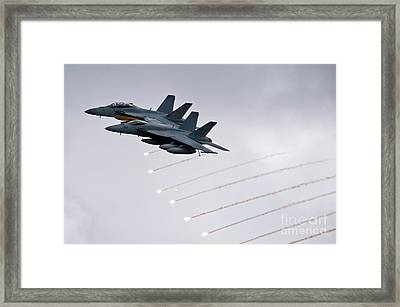 Two Fa-18 Super Hornets Drop Flares Framed Print by Celestial Images