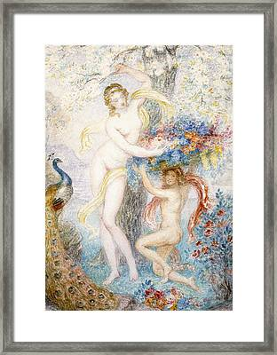 Two Female Nudes Under A Tree With A Peacock Framed Print by Armand Point