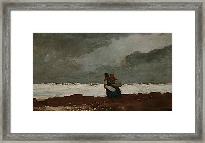 Two Figures By The Sea Framed Print