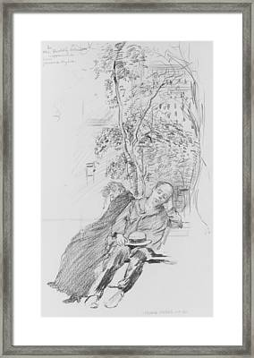 Two Figures In A Park Framed Print by Jerome Myers