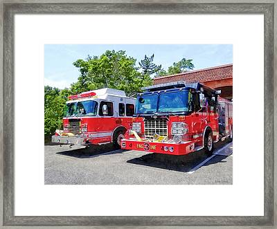 Two Fire Engines In Front Of Firehouse Framed Print by Susan Savad