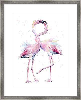 Two Flamingos Watercolor Famingo Love Framed Print by Olga Shvartsur