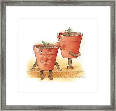 Two Flowerpots02 Framed Print by Kestutis Kasparavicius