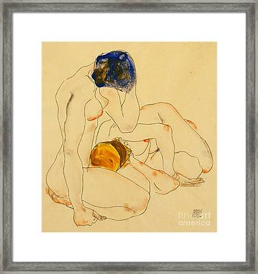 Two Friends Framed Print by Egon Schiele