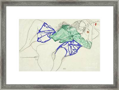 Two Friends, Reclining   Tenderness Framed Print by Egon Schiele