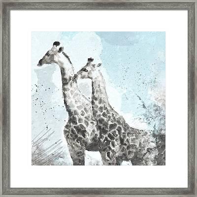 Two Giraffes- Art By Linda Woods Framed Print