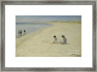 Two Girls At The Beach Framed Print