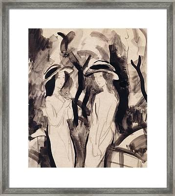 Two Girls Framed Print by August Macke
