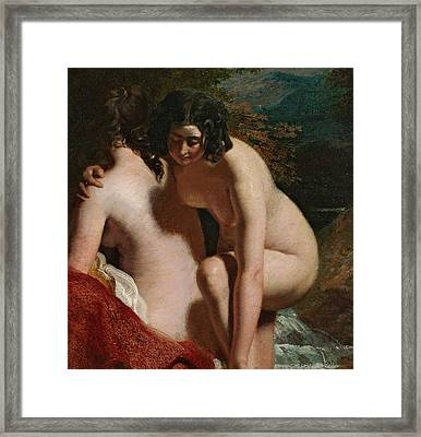 Two Girls Bathing Framed Print by William Etty