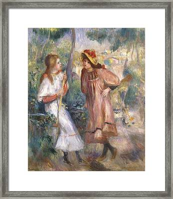 Two Girls In The Garden At Montmartre Framed Print by Pierre Auguste Renoir