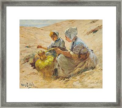 Two Girls In The Sand Dunes Framed Print by Celestial Images