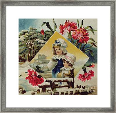 Two Girls On A Bridge In The Snow, Victorian Christmas And New Year Card Framed Print by English School