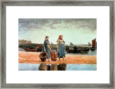 Two Girls On The Beach Framed Print by Winslow Homer