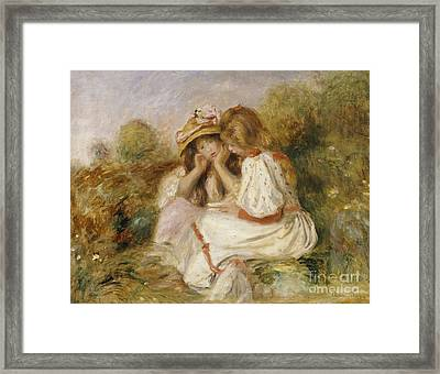 Two Girls Framed Print by Pierre Auguste Renoir