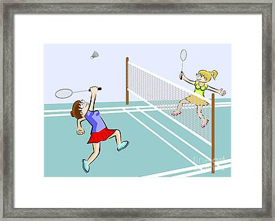 Two Girls Playing Badminton Framed Print