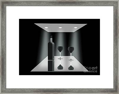 Two Glasses And A Bottle Framed Print