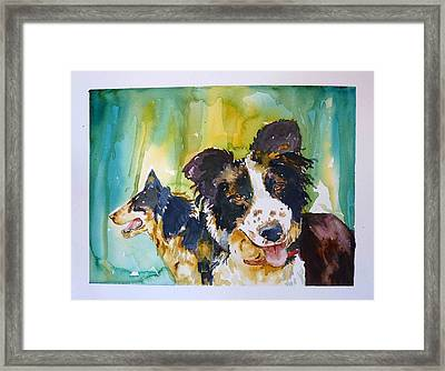 Framed Print featuring the painting Two Good Cowdogs by P Maure Bausch