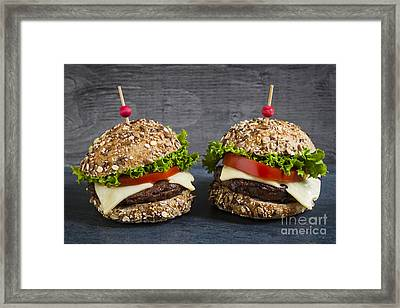 Two Gourmet Hamburgers Framed Print by Elena Elisseeva