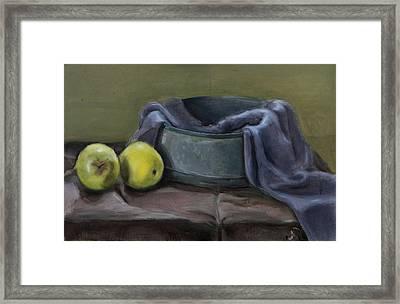 Two Green Apples Framed Print by Raimonda Jatkeviciute-Kasparaviciene