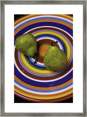 Two Green Pears On Circle Plate Framed Print