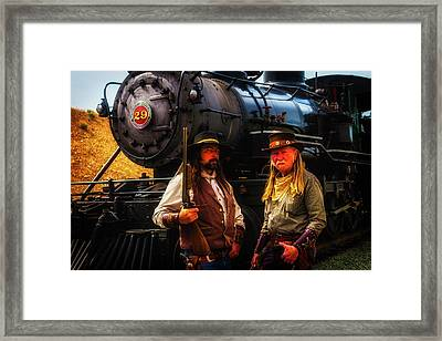 Two Gunfighters In Front Of Train Framed Print by Garry Gay
