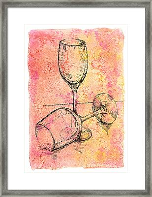 Two Hand Dot Drawn Transparent Wine  Glasses Framed Print by Victoria Yurkova