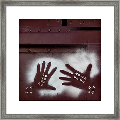 Two Hands On A Train Graffiti Framed Print by Carol Leigh