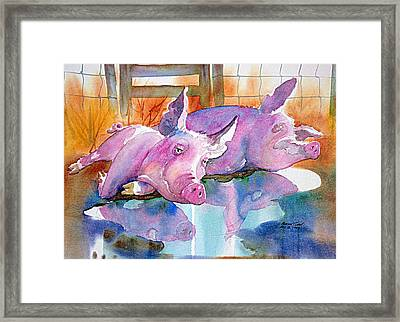 Two Happy Pigs Framed Print by Patrick Clark
