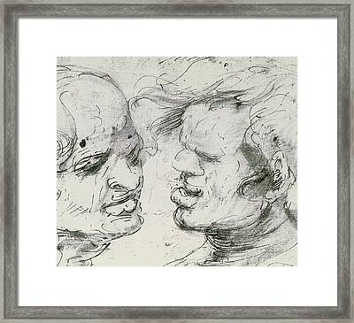 Two Heads Framed Print by Leonardo Da Vinci